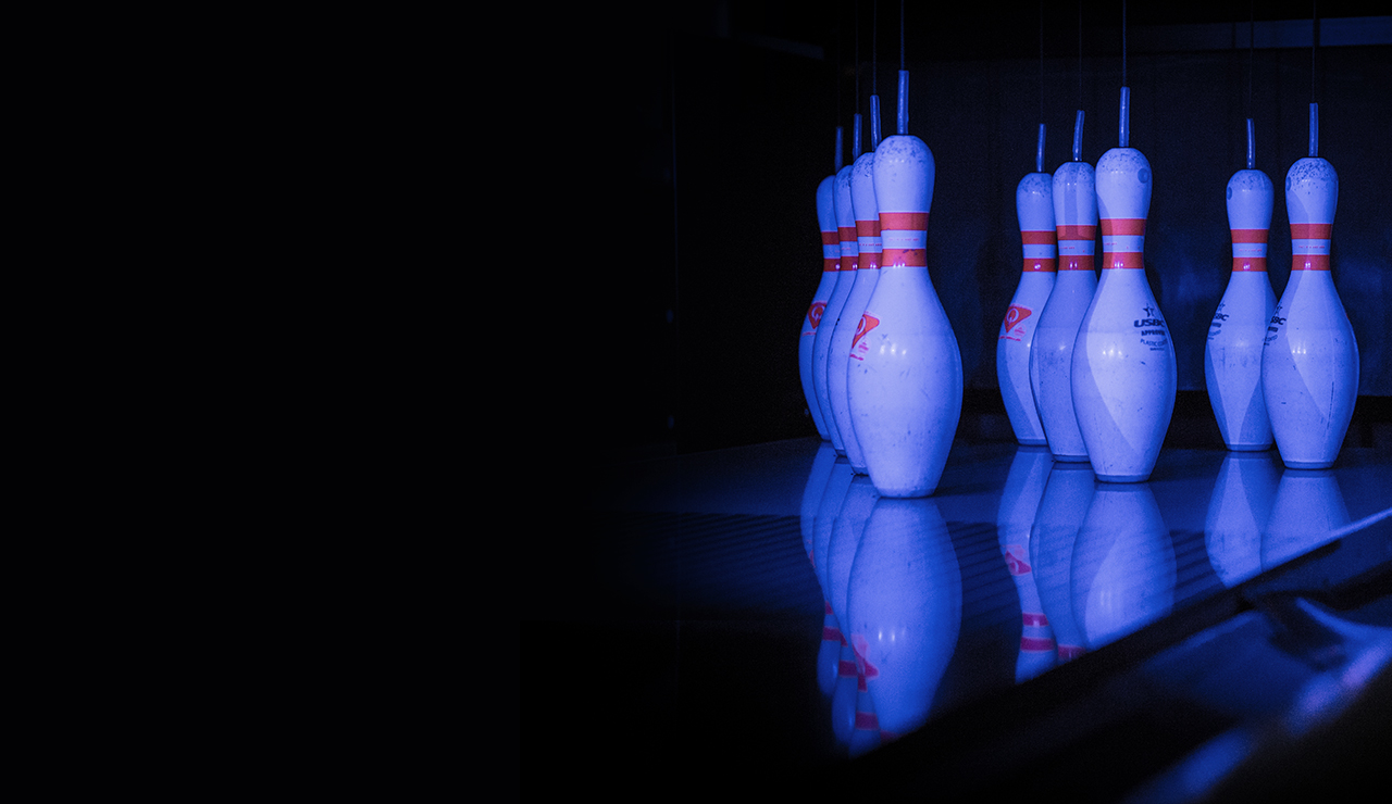Bowling alley pins lined up